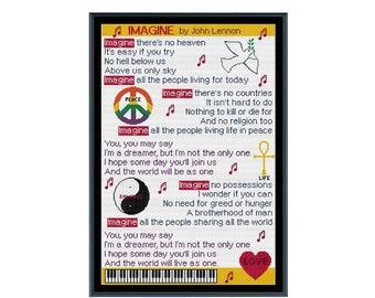 Imagine Lyrics 2 - John Lennon Cross Stitch Pattern