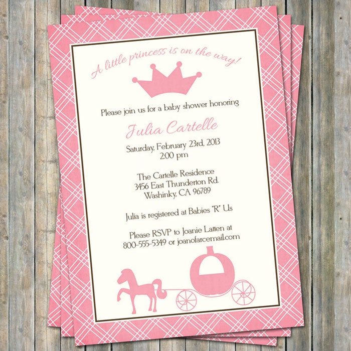 Princess Baby Shower Invitations Digital Printable File