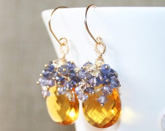 Honey Yellow Quartz with Multi Gemstone Cluster Earrings, 14K Gold Filled, Wire Wrapped, Eye Catching Earring, Mixed Gemstones Earring