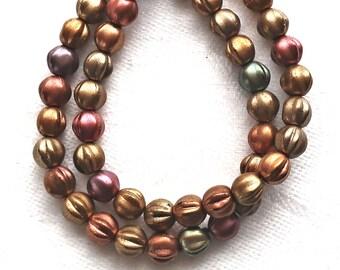 25 Czech 6mm glass melon beads, metallic bronze iris mix beads, earthy, rustic mix. pressed beads C0801