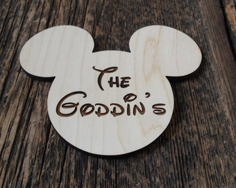 Custom engraved Mickey magnet.  Your choice of 4 sizes.  Fish extender.  Disney Cruising.