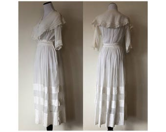 XS Antique Edwardian Tea Dress White Cotton Lawn Eyelet Lace