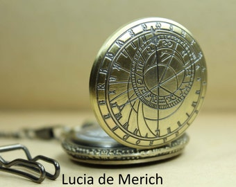 Groomsman Gift Pocket Watch Steampunk - ROMAN NUMERALS - Bronze Face Roman Numberal Numbers - zodiac pocket watch