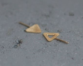 Unique Triangle Earrings, Spike Stud Earrings, Textured Earrings, Flat Earrings, Geometric Earrings, Gold Triangle Studs, Triangle Posts