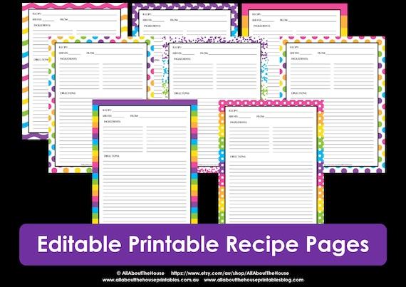 editable printable recipe card template pdf sheet recipe