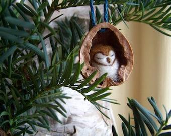 Needle Felted Owl in Walnut Heirloom Christmas Ornament-Barn Owl