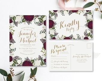 Wedding Invitation Set RSVP Postcard Floral Invitation Vintage Floral Wedding Set Vintage Invitation Floral Wedding Set #CL123