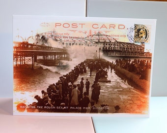 Brighton Palace Pier, Brighton Pier, Sussex, Seaside Postcard, Stamps, Seafront, Promenade, Victorian, Vintage, British, Greeting Card.
