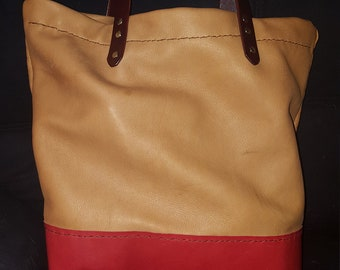 Tan and Red tote