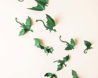 Game of Thrones Nursery Decor, 3D Green Dragon Wall Decals, Gender Neutral Decor