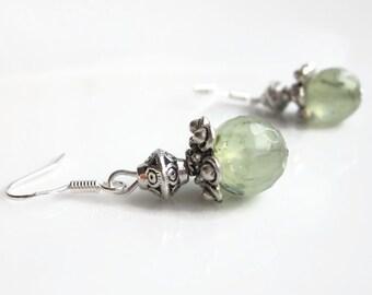 Prehnite earrings, green gemstone earrings, dangle earrings, sterling silver earrings uk