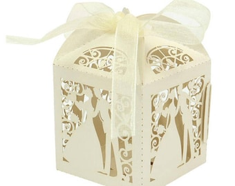 Sweet Married Wedding Favor Candy Box White Blue Purple Pink With Ribbon
