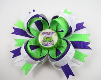 Birthday Hair Bow - Purple and Green Hair Bow - Purple Hair Bow - Green Hair Clip - Birthday Hair Clip