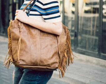 Brown Leather Bag - Leather Tote Bag, Boho Fringe Bag, Soft Leather, Large Leather Bag,  Zipper Closure, Women bag, Fringe Bag, Leather tote