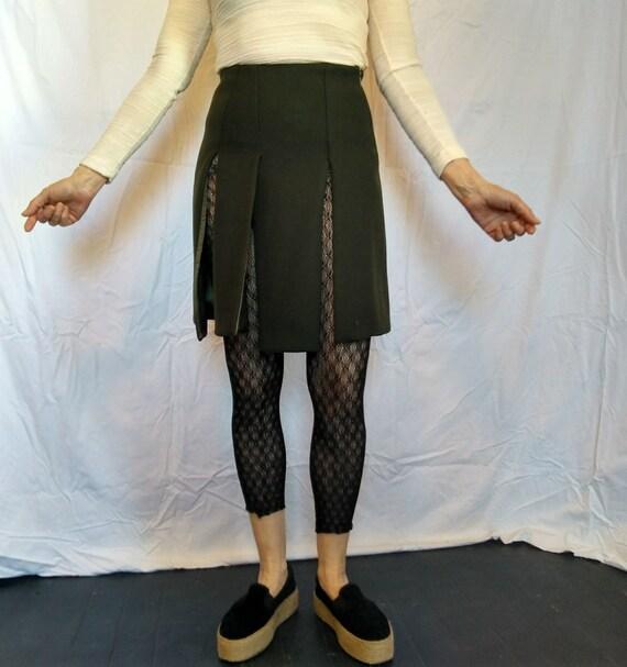 Vintage Prada army green wool tweed panel Pixie mini skirt 1990s