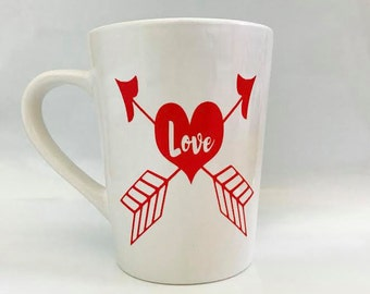 Love mug / love / arrows / heart / Valentine's mug / Valentine's gift / Wife / girlfriend / friend / Valentine's Day