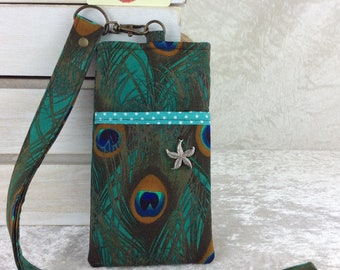 Peacock Feathers Lanyard pouch case cover cell mobile phone glasses Birds