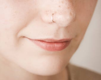 SALE SALE Super Fine Nose Ring, Thin Silver Nose Ring, Silver Nose Piercing, Modern Jewelry, Minimalist Jewelry, cartillage Ring, 22 gauge