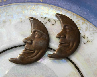 2 Moon Charms, Large Man in the Moon Crescent Pendant, Vintage Patina Brown, 15.5mm x 25.5mm, Great Detail