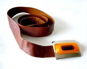 1970's Aaronel deRoy Gruber Layered Lucite Belt Buckle on Leather Strap