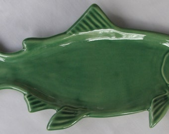 Green Salmon Snack Plate, Handmade Pottery