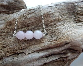 Rose Quartz Bar Necklace, Pink Stone Minimalist Necklace, Fertility Necklace, Healing Jewelry Necklace, Rose Quartz Pink Stone bead Necklace