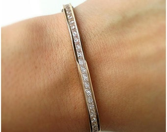 Bracelet gold plated ring 750/000 seam oxides of zirconium-bracelet rigid ring around seam closed-Bangle 750 gold plated cubic zirconia set