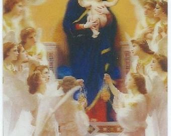 Hologram religious Virgin Mary with child Jesus effect 3 D 8.3 cm x 5.3 cm