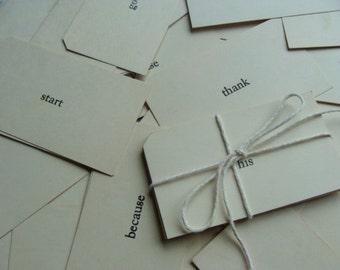 One Dozen  Vintage Word Flash Cards