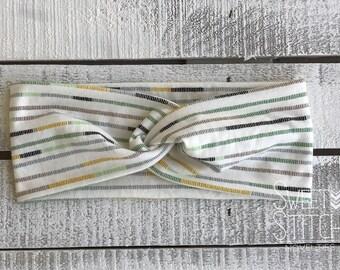 Fall Stripe Turban Headband, Wide Headband, Twist Headband