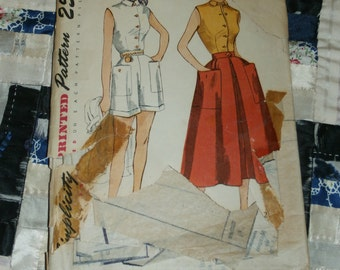 Vintage 1940's Simplicity Pattern 3160 for Misses Blouse, Skirt and Shorts Size 14, Bust 32, Waist 26""