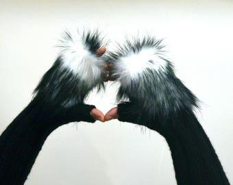 Shearling Fingerless  black gloves  / Shearling knit gloves,  Handmade  gift  , Wife to husband gift