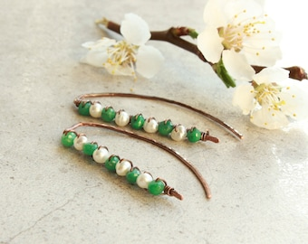 Emerald White Pearls Threader Earrings, hand-forged oxidized copper, natural gemstone, minimalist, May June birthstone, gift for her, 4739