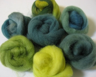 Hand-dyed Wool Roving Grab Bag - Leaves of Green, a Paintbox for Felt Makers - Free Domestic Shipping