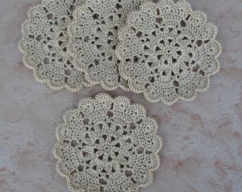set of 4 beige mini-napperons/coasters crochet diameter 8 cm