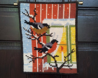 Sweden twice stitch embroidered  hanging.Wall decor.1980's