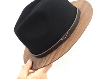 Wood Brim Fedora- Black and Walnut