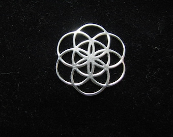 Original Seed of Life Charm Pendant, 925 Sterling Silver, Sacred Geometry