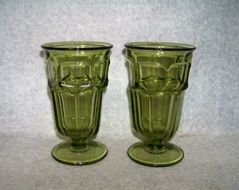 Vintage Westmoreland Glass Olive Green Ashburton Iced Tea Glass Set of 2 & Ashburton | Etsy