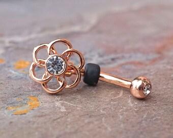 Geometric Flower 14kt Rose Gold Rook Earring Daith Piercing Eyebrow Ring