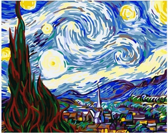 "Van Gogh Starry Night Paint by Number Kits, DIY Painting picture on canvas 16*20"" Home decor wall art for adult DIY Painting Gift"