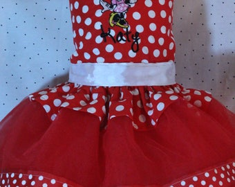 Minnie Mouse, birthday, Disney, custom, handmade, personalized, tutu, red, white, first birthday, 1st birthday, 2nd birthday, 3rd birthday