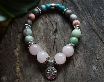 "Heart chakra bracelet - healing crystals and stones - reiki jewelry - crystal bracelet - ""The Beloved"""