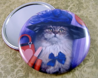 Pocket Mirror Large Decorative Magnet or Large Pin Cat Lovers Gift