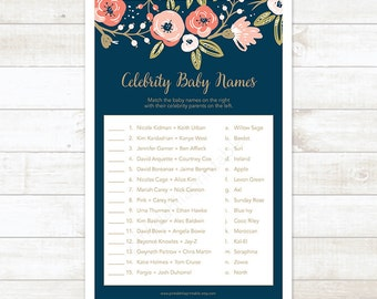floral celebrity baby names game, floral baby shower game, navy and gold celebrity baby names, celebrity match-up game - INSTANT DOWNLOAD