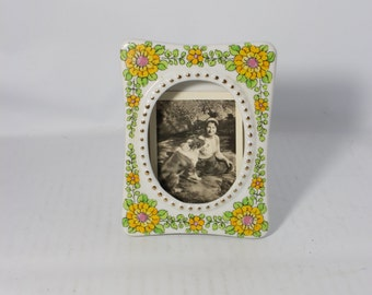 Vintage Porcelain Desk Picture Frame Yellow Flowers and Gold Japan