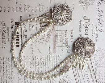 Bridal hair chain - Pearl Hair chain headpiece - Art Deco Headpiece - Bridal hair jewellery - 1920's Dress - Bridal headpiece