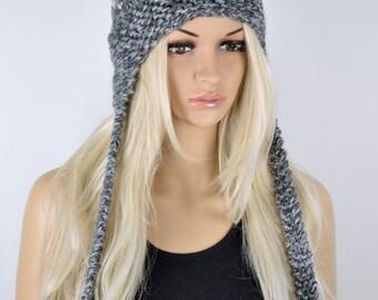 Hat, Knit hat, Chullo, Ear Flap Hat, Pom Pom Hat, Winter Hat, Handmade Hat, Chullo Hat,  Earflap, Wool Blend Hat, Grey Chullo, Fashion Hat