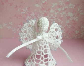 Sale Lace Angel Christmas Angel chrochet ornament light blue beaded angel beaded ornament, lace angel with white ribbon