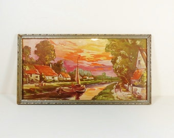 Vintage Sunset Print Europe Framed Print